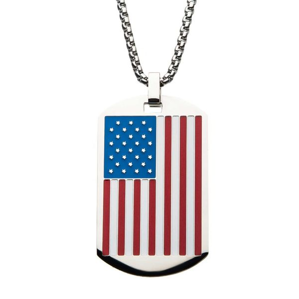 American Flag Enamel Dog Tag Pendant Arezzo Jewelers Chicago, IL