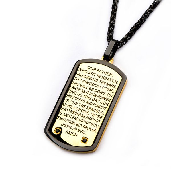 Two Tone w/ Lord's Prayer Black CZ Gem Dog Tag Pendant with Chain Image 2  ,