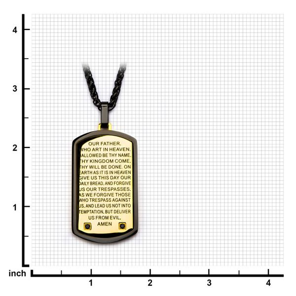 Two Tone w/ Lord's Prayer Black CZ Gem Dog Tag Pendant with Chain Image 3  ,