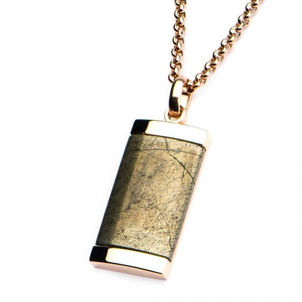 Chalcopyrite Dog Tag Pendant with Rose Gold Plated Chain Image 2  ,
