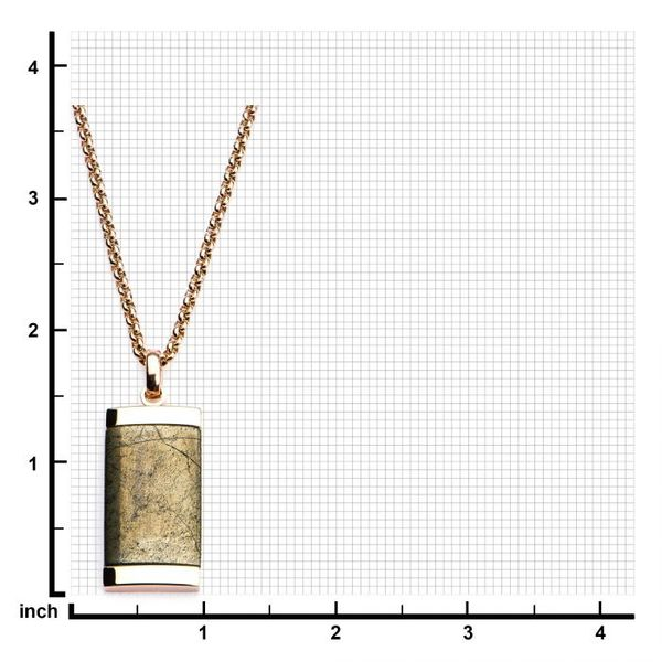 Chalcopyrite Dog Tag Pendant with Rose Gold Plated Chain Image 3  ,