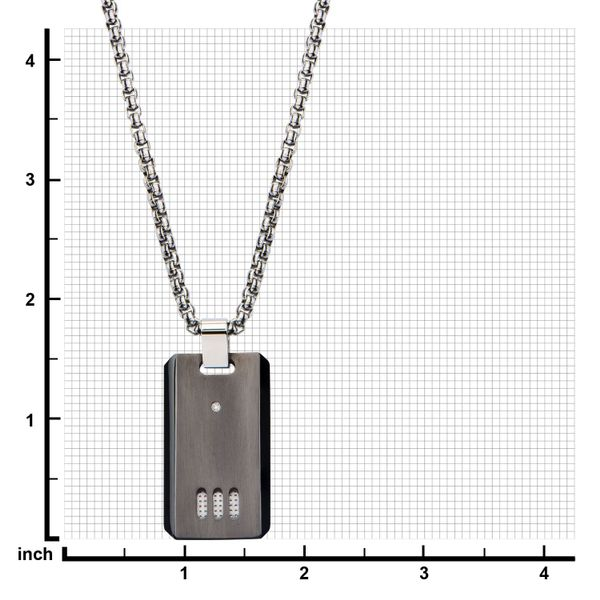 Black Plated Gun Metal Finish with CZ Dog Tag Pendant with Chain Image 3  ,