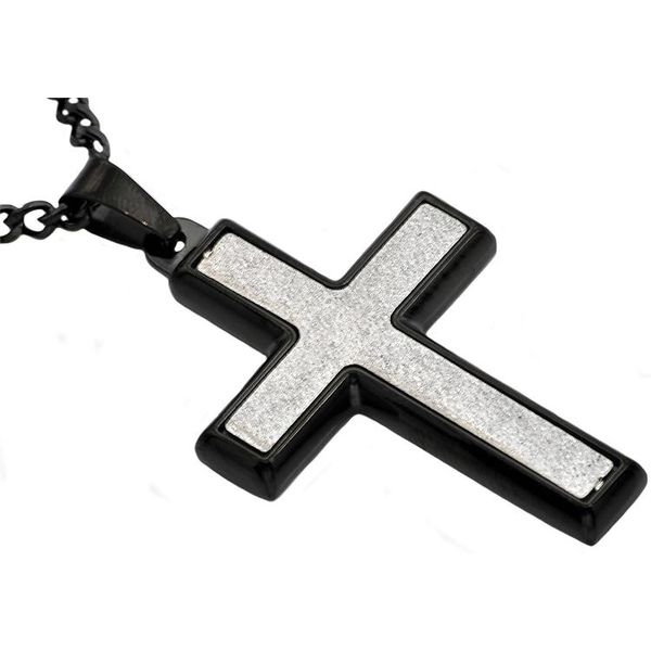 Sandblasted Black Plated Stainless Steel Cross Pendant Arezzo Jewelers Chicago, IL
