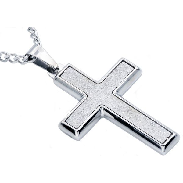 Sandblasted Stainless Steel Cross Pendant Arezzo Jewelers Chicago, IL