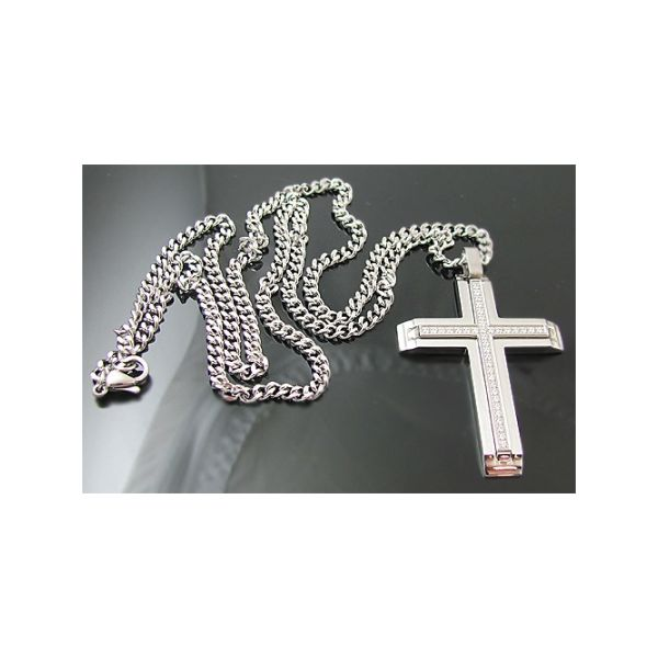 Stainless Steel Cross Pendant WIth Cubic Zirconia Image 3 Arezzo Jewelers Chicago, IL