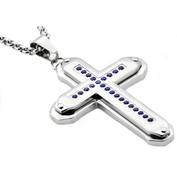 Steel Cross Necklace With Blue CZ's Arezzo Jewelers Chicago, IL