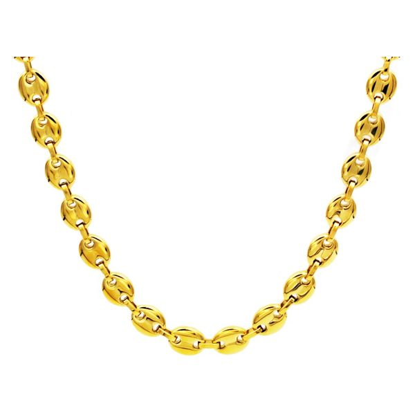 Gold Plated Steel Puff Mariner Link Chain Arezzo Jewelers Chicago, IL