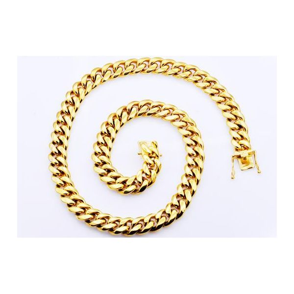 Gold IP Plated Stainless Steel Cuban Link Chain Image 2 Arezzo Jewelers Chicago, IL
