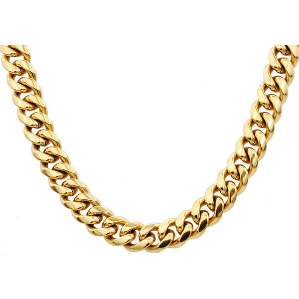 Gold IP Plated Stainless Steel Cuban Link Chain Arezzo Jewelers Chicago, IL