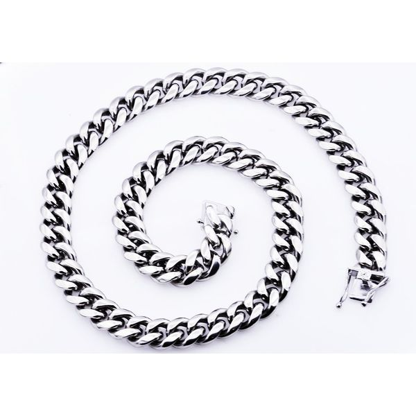 Stainless Steel Cuban Steel Chain Image 2 Arezzo Jewelers Chicago, IL