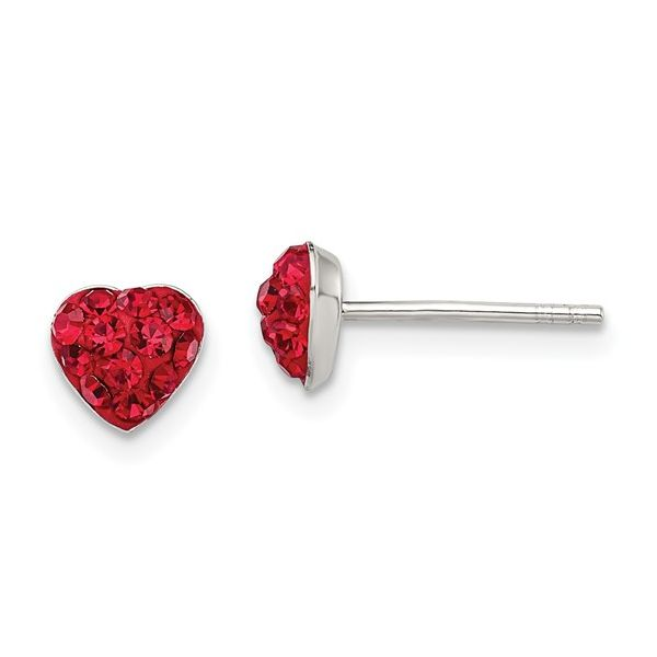 Silver Red Preciosa Crystal Heart Post Earrings Arezzo Jewelers Chicago, IL