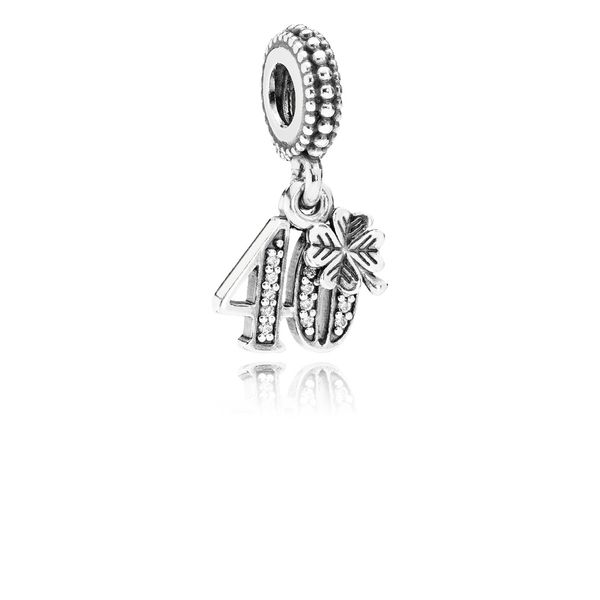 40 YEARS OF LOVE DANGLE CHARM, CLEAR CZ Arezzo Jewelers Chicago, IL