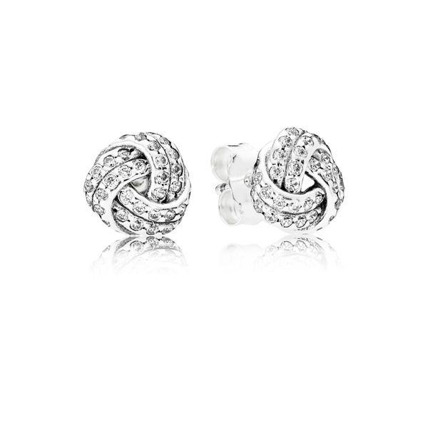 Sparkling Love Knots Stud Earrings, Clear CZ Arezzo Jewelers Chicago, IL