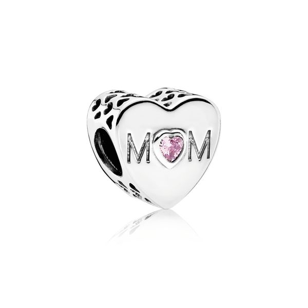 Mother Heart Charm, Pink CZ Arezzo Jewelers Chicago, IL