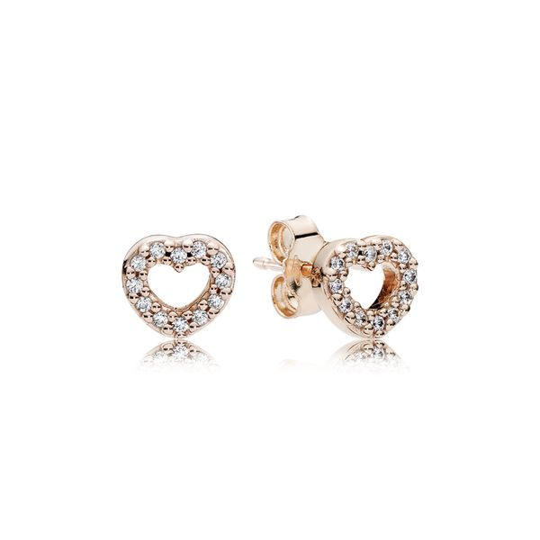 Open Heart Stud Earrings Arezzo Jewelers Chicago, IL