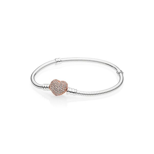 Pandora Moments Pavé Heart Clasp Snake Chain Bracelet Arezzo Jewelers Chicago, IL