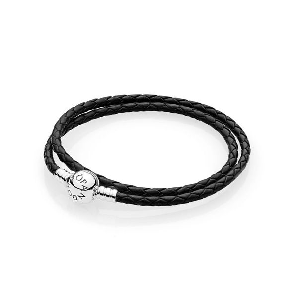 Black Braided Double-Leather Charm Bracelet Arezzo Jewelers Chicago, IL