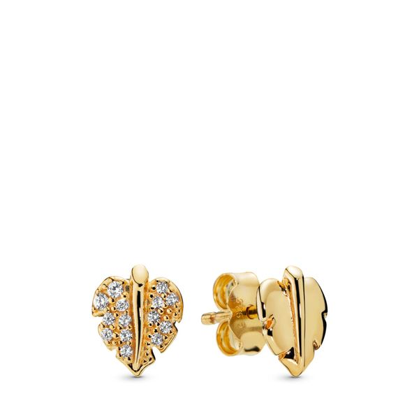 Shining & Sparkling Leaf Stud Earrings Arezzo Jewelers Chicago, IL