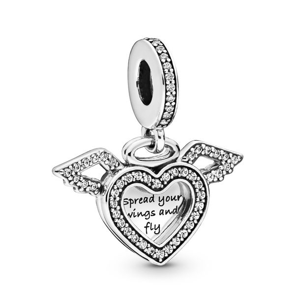 Heart and Angel Wings Dangle Charm Arezzo Jewelers Chicago, IL