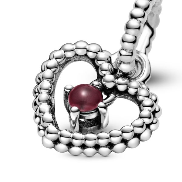 Dark Red Beaded Heart Dangle Charm Arezzo Jewelers Chicago, IL