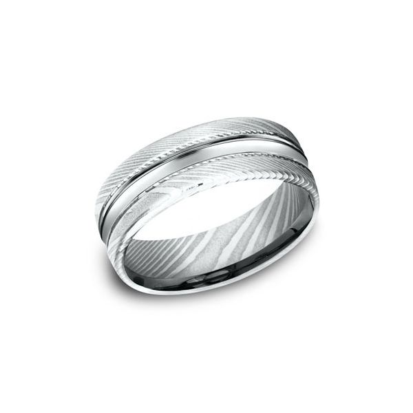 Damascus Steel 7.5mm Band Arezzo Jewelers Chicago, IL