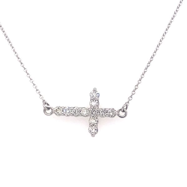 Sideways Diamond Cross Necklace Armentor Jewelers New Iberia, LA