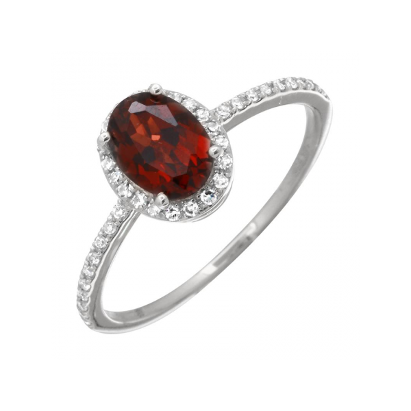 Garnet Halo Ring Armentor Jewelers New Iberia, LA