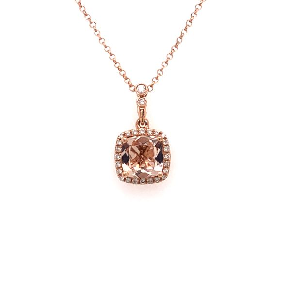 Morganite and Diamond Halo Necklace Armentor Jewelers New Iberia, LA