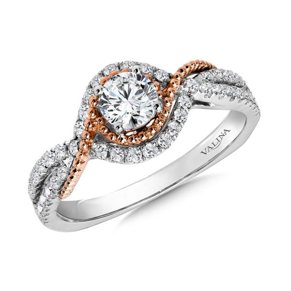 14K White & Rose Gold Diamond Semi-Mount Engagement Ring, Size 7. w/ DTW=0.32 Barnes Jewelers Goldsboro, NC