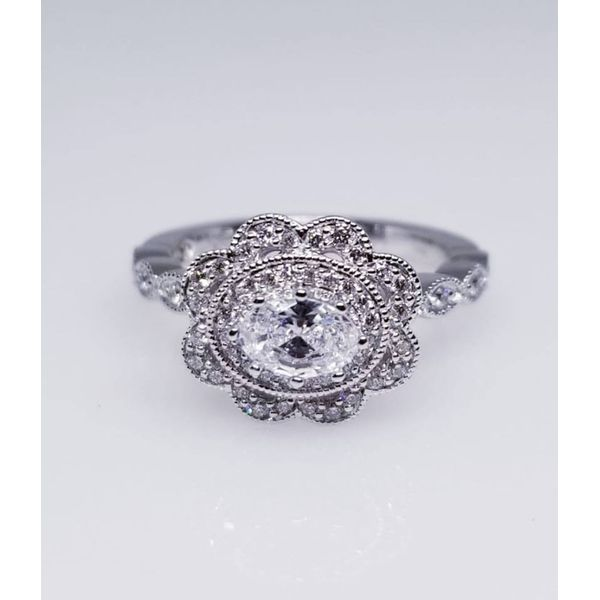 14K White Diamond Fashion Ring with 0.30tw diamonds and Oval Cubic Zirconia Center Stone. size 6.5 Barnes Jewelers Goldsboro, NC