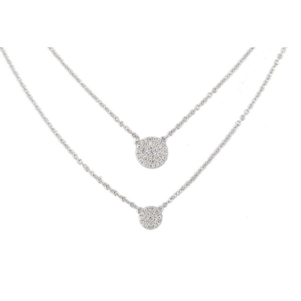 14 Karat White Gold Diamond Disc Layered Necklace w/ Pave Diamonds 0.16tw. G-H Color And Si1 Clarity.  Cable Chain Length Adjust Barnes Jewelers Goldsboro, NC