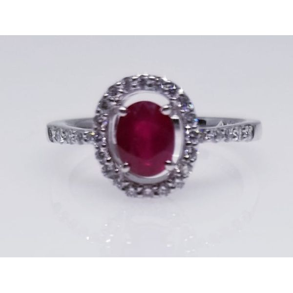 14 Karat White Ruby and Diamonds Ring With One Ruby Oval 0.82 ct  and Diamonds Round 0.31 tw. Ring Size 6.5. Barnes Jewelers Goldsboro, NC