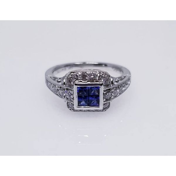 14K White Sapphire & Diamond Ring with 4 Princess Cut Blue Sapphires 0.47 tw and 0.53 tw Diamonds. size 6.5 Barnes Jewelers Goldsboro, NC