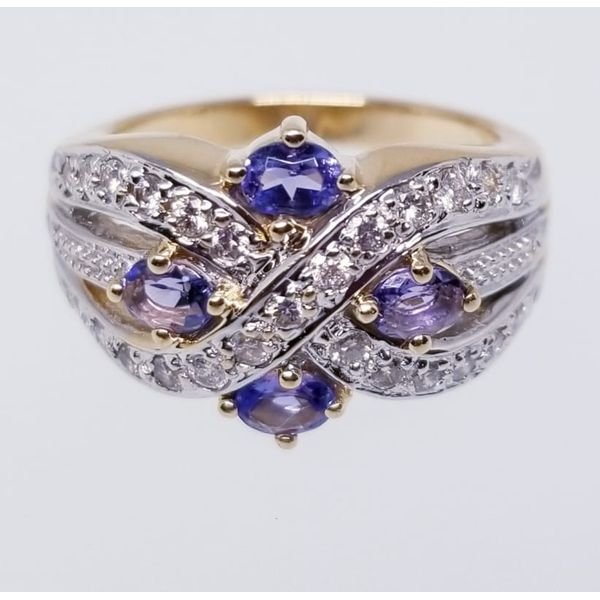 14K Yellow & Rhodium  Fashion Ring with 4 Oval Tanzanites 3x5mm and 25 Round Diamonds  0.75 tw I-J Color SI2 Clarity. Size 8 Barnes Jewelers Goldsboro, NC