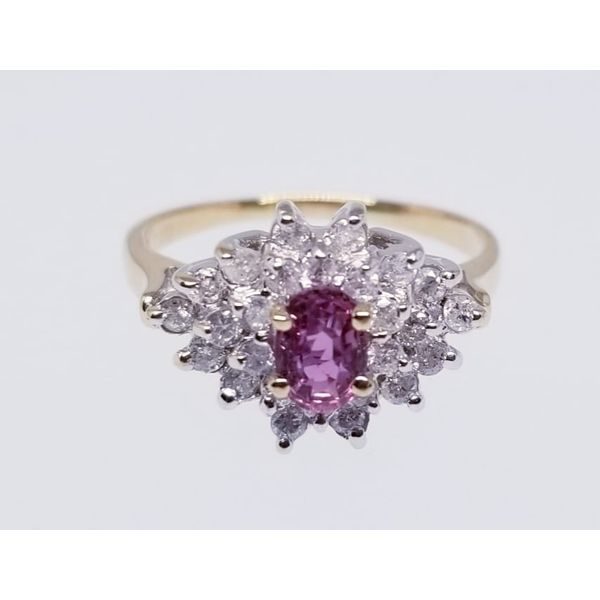 14K Yellow Fashion Ring with One Oval Pink Sapphire 0.63ct and 52 Diamonds 0.52tw H-I Color I1 Clarity Barnes Jewelers Goldsboro, NC
