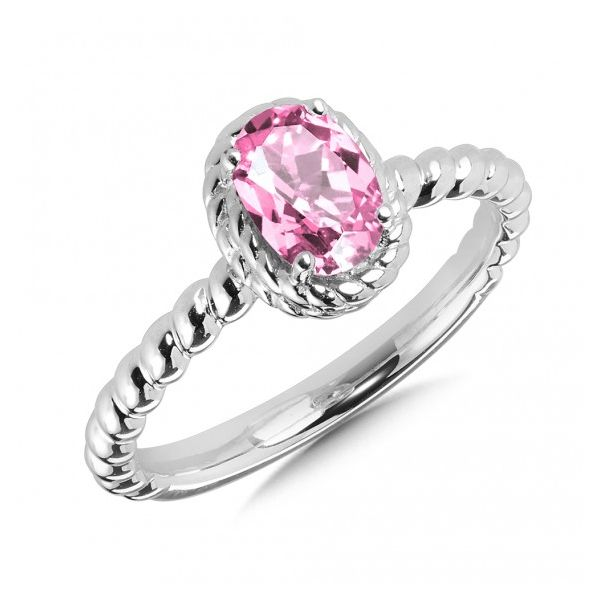 Rhodium Sterling Silver ring with 7x5mm Created Pink Sapphire, Size 7 Barnes Jewelers Goldsboro, NC