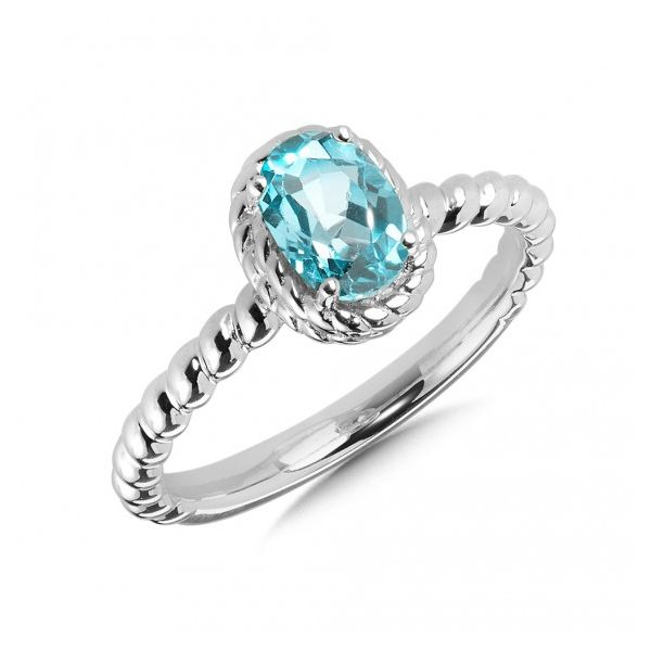 Rhodium Sterling Silver Ring with 7 x 5mm Aquamarine Size 7 Barnes Jewelers Goldsboro, NC