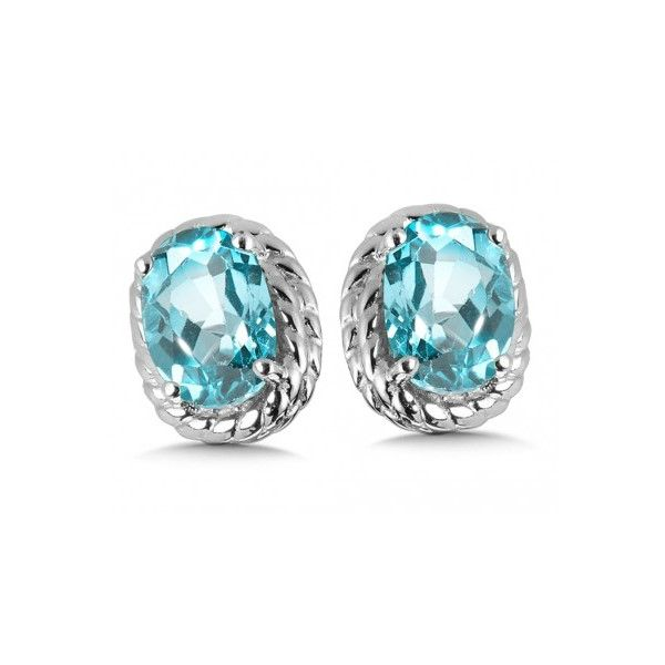 Rhodium Sterling Silver Stud Earrings w/ 2 6x4mm Aquamarines Barnes Jewelers Goldsboro, NC