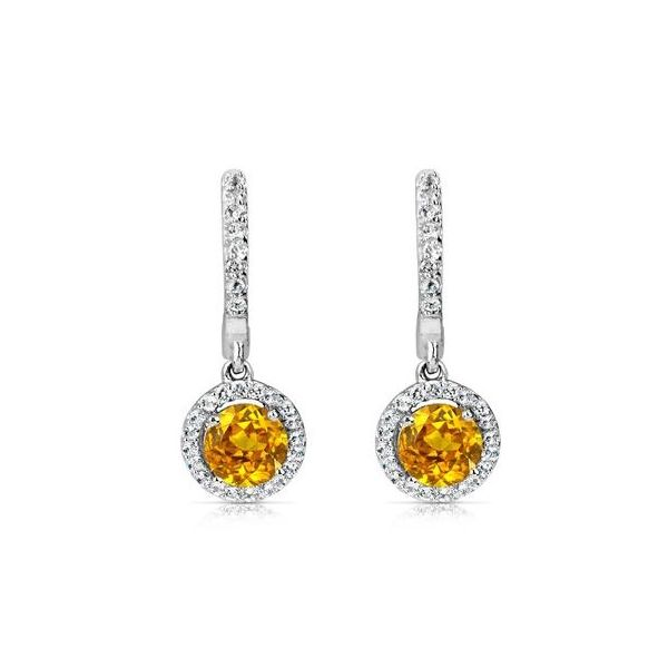 ITALGEM - Rhodium Sterling Silver Dangle Earrings, with 2 6mm Round Golden Citrines and CZ Halos, 1.40ctw. November,  H37E112WGC Barnes Jewelers Goldsboro, NC