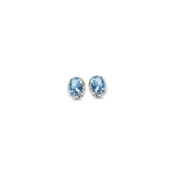 Rhodium Sterling Silver Stud Earrings with 2 6x4mm Blue Topaz. Barnes Jewelers Goldsboro, NC