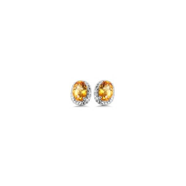 Rhodium Sterling Silver Stud Earrings with Two 6x4mm Citrines. Barnes Jewelers Goldsboro, NC