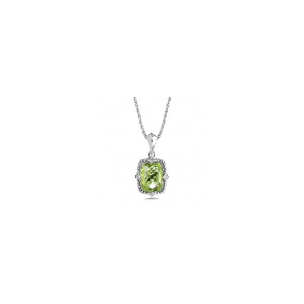 COLORE  Rhodium Sterling Silver Pendant w/ Rectangular Peridot (August) ,  rollo chain Length 18 LVP737-PE Barnes Jewelers Goldsboro, NC