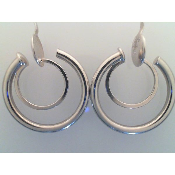 14K White Gold Double Hoop Earrings, polished tubing,  2mm x 18mm. Non Pierced. Barnes Jewelers Goldsboro, NC