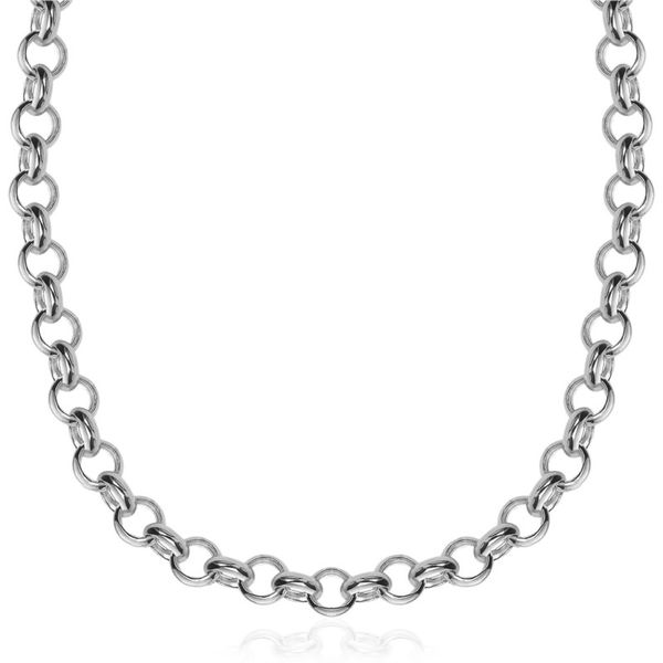 Rhodium Sterling Silver Rolo Chain Length 18