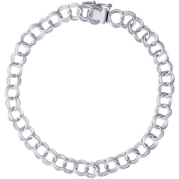 Rhodium Sterling Silver  Double Link Curb Classic Charm Bracelet, With Box & Safety clasp, Length  7