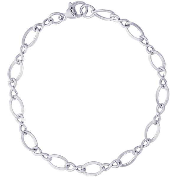 Rhodium Sterling Silver Large Figure 8 Link Classic  Charm Bracelet (Grow With Me).  Length 7