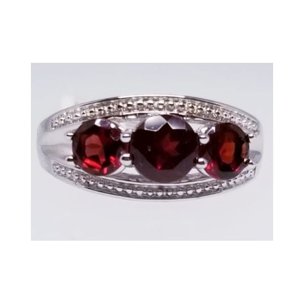 Rhodium Sterling Silver Fashion Ring with 3 Round Garnets 1.90 tw. Size 7 Barnes Jewelers Goldsboro, NC