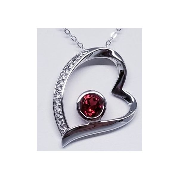Rhodium Sterling Silver Necklace with Floating Heart Pendant One Round Garnet 1.21ct and White Topazs 0.19tw. Length 16