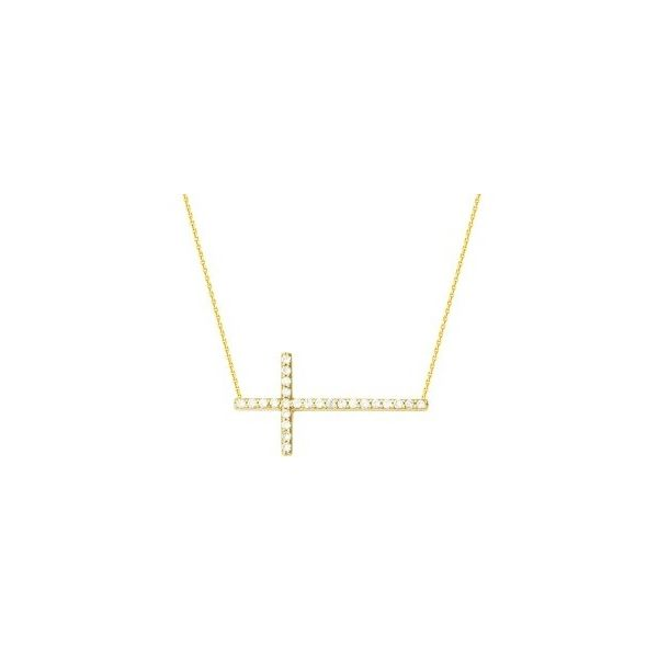 Gold Plated Sterling Silver  E2W Sideways Cross Necklace w/ Cubic Zirconias, Length 16