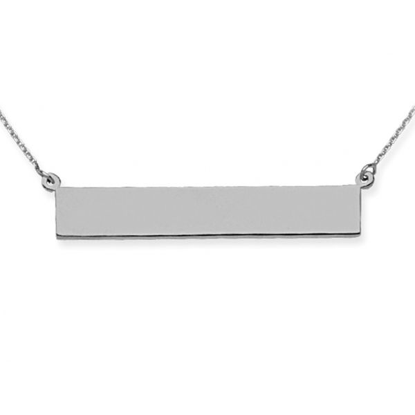 Rhodium Sterling Silver E2W Bar Name Plate Necklace,  6.5mm x 36.5mm,  Length 16+2